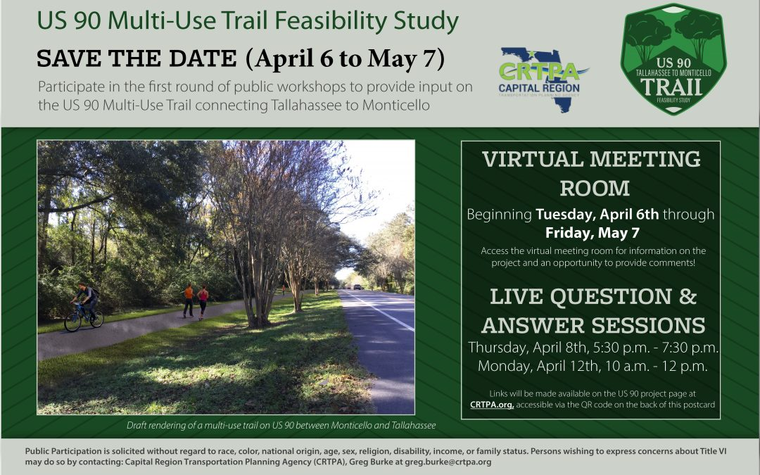 Virtual Public Meeting (April 6 – May 7) on the US 90 Multi-Use Trail Feasibility Study